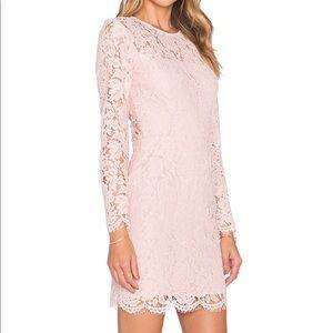 Karina Grimaldi blush pink lace mini dress, size S